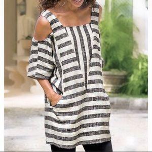 Soft Surroundings Stripe Linen Cold Shoulder Tunic